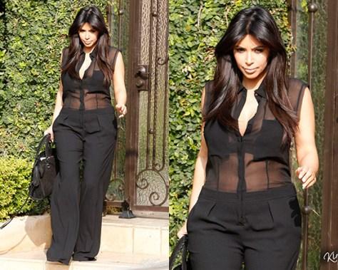 Kim Kardashian wearing Faith Connexion Sheer Overall