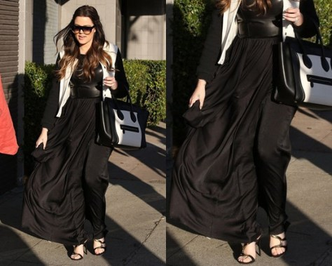 Khloe Kardashian in One by Marna Ro Shirred Waist Dress with Leather Bodice