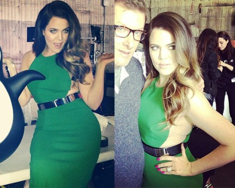 Khloe Kardashian in Stella McCartney Belted Contour Gown