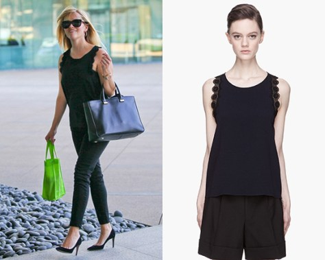 Reese Witherspoon in Vanessa Bruno Lace-trimmed Tank Top