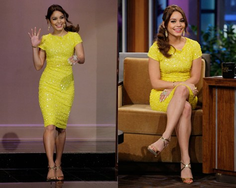 Vanessa Hudgens wearing Alice + Olivia Taryn Beaded Cap Sleeve Dress on Jay Leno