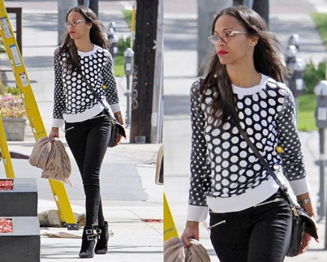 Zoe Saldana wearing MICHAEL Michael Kors Dotted Knit Pullover