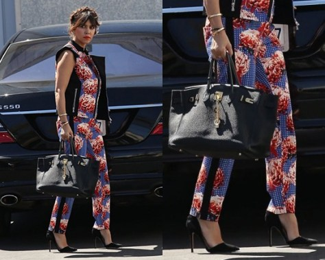 Kourtney Kardashian steps out in L.A.M.B. Wicked Sunset Floral Pants