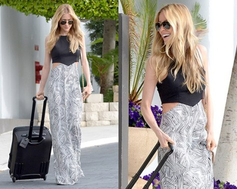 Kristin Cavallari in Donna Mizani Theodore Cut Out Maxi Dress