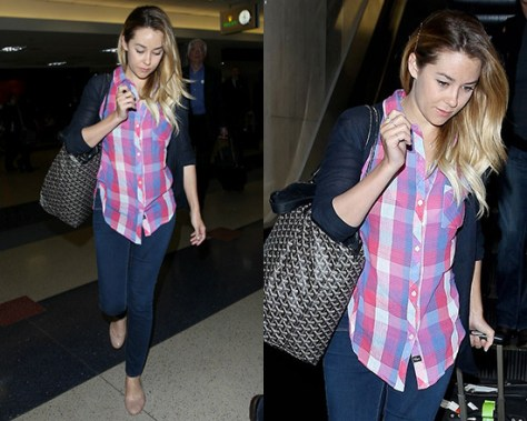 Lauren Conrad in Raspberry and Navy Rails Hannah Sleeveless Button Down
