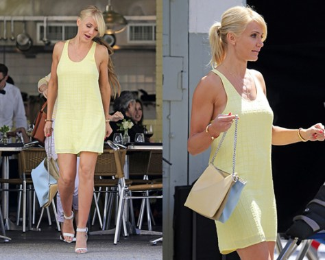 Cameron Diaz films new movie in Balenciaga Square jacquard silk dress