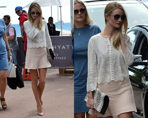 Rosie Huntington-Whiteley wearing Vanessa Bruno Eyelet blouse