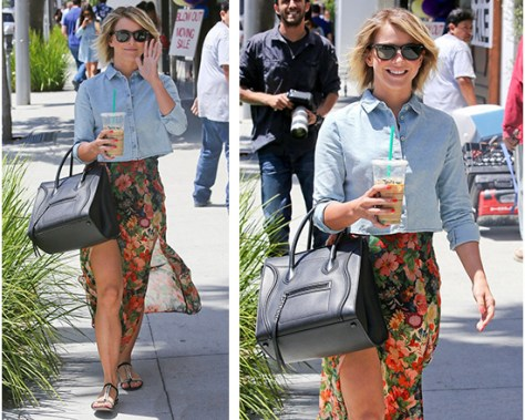 Julianne Hough wearing a Topshop Floral Double Split Maxi Skirt