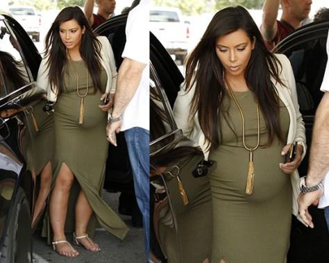 Kim Kardashian in Topshop Double Split Maxi Dress in Khaki