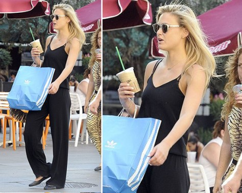 Bar Refaeli in Gypsy 05 Emily Silk Spaghetti Strap Wide Leg Jumper