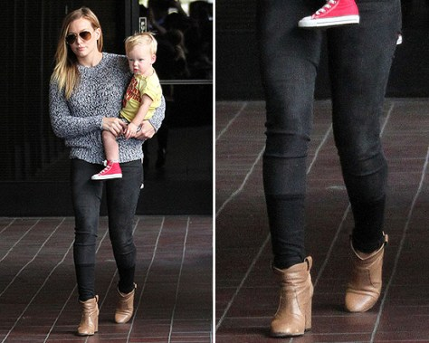 Hilary Duff wearing Rag & Bone Holst Pullover Sweater and J Brand Stepped Hem Skinny Jeans
