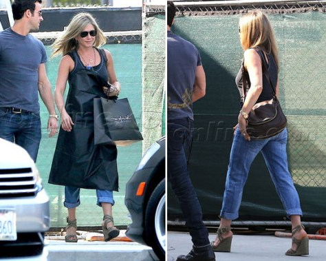 Jennifer Aniston steps out in a pair of Stuart Weitzman Reins Wedges
