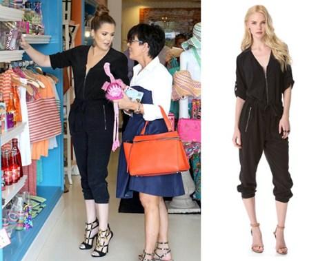 Khloe Kardashian in DKNY Pure DKNY V Neck Jumpsuit