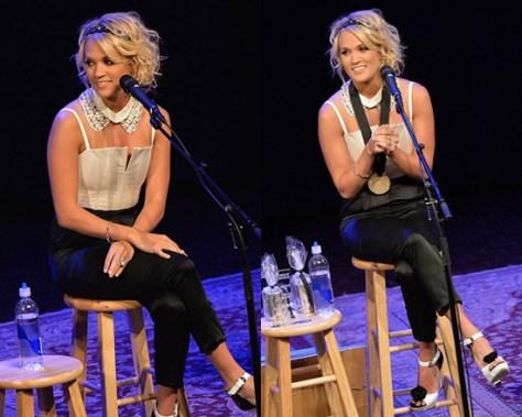 Carrie Underwood in Alice + Olivia Arrow Two-Tone Jumpsuit