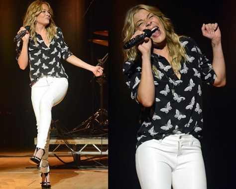 LeAnn Rimes hits the stage in Equipment Grace Magnetic Butterfly Blouse