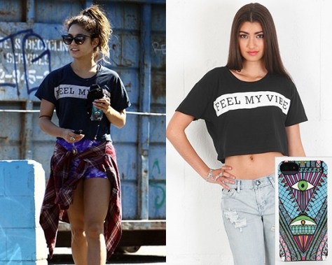 Vanessa Hudgens in Lovers + Friends Feel My Vibe Cropped Tee