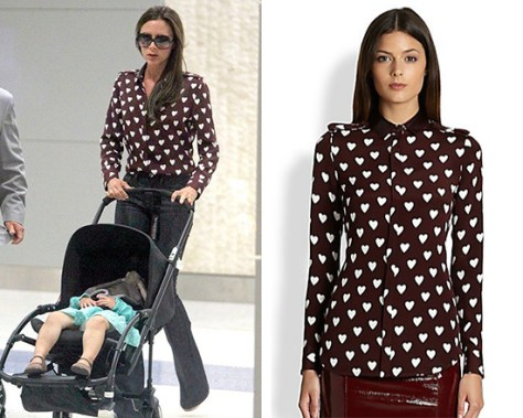 Victoria Beckham in Burberry Prorsum Silk Heart Print Shirt