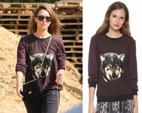 Jessica Alba wearing Charles Henry Print Front Pullover in Burgundy Wolf