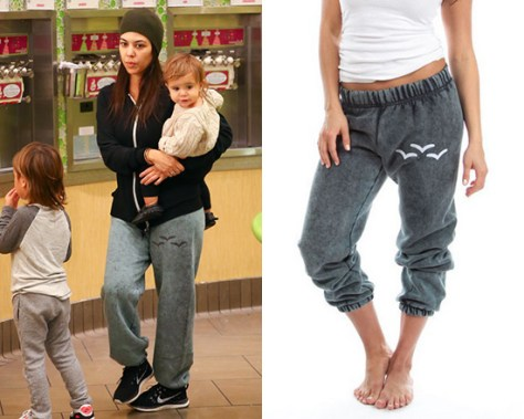 Kourtney Kardashian in Lazypants Grey Stonewash Sweatpants