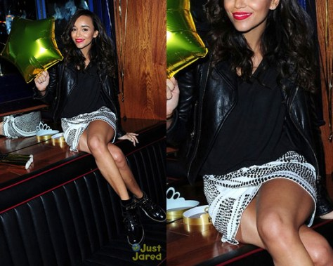 Ashley Madekwe in Bebe leather jacket and miniskirt