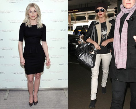 Julianne Hough launches shoe collection in Theory Arvada Knit Peplum Dress