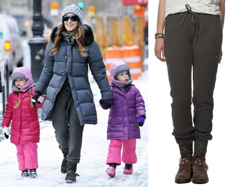 Sarah Jessica Parker takes twin daughters to school in Gypsy05 Chunky Loop Terry Studded Drawstring Lounge Pant