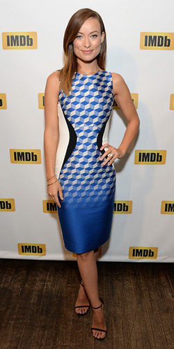 olivia-wilde-Antonio-Berardi-Paneled-crepe-and-jacquard-dress