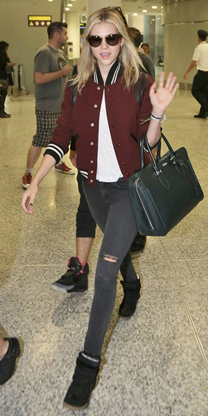 nicola-peltz-Saint-Laurent-Burgundy-Wool-Teddy-Bomber-Jacket