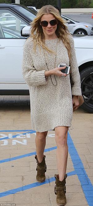 leann-rimes-hm-sweater-dress-isabel-marant-western-suede-bootie