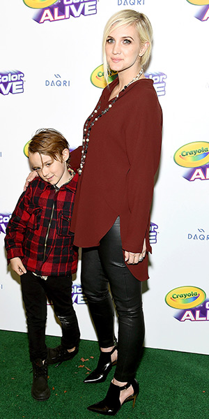 Ashlee Simpson in Anine Bing</em> Stretch Leather Skinny Pants and Ruthie Davis Isabelle Heels