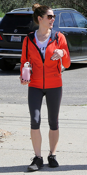 Ashley Greene on a hike carrying her bkr Cupcake Heart Glass Water Bottle