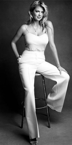 Kate Upton in The Row biggins camisole, Valentino wide-leg pants and Proenza Schouler Color-block nubuck sandals for Net-A-Porter's The Edit magazine, March 2015