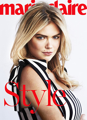 Kate Upton in a Dolce & Gabbana striped crepe dress for Marie Claire US May 2015 issue - shot by Dan Martensen