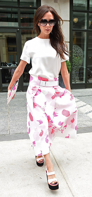 Victoria Beckham steps out in her own designs in New York City on June 3, 2015.