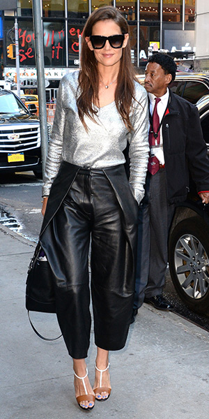 Katie Holmes wearing a Avant Toi metallic V-neck sweater, Zac Posen leather pants and Christian Louboutin True Blue Python Cuoio Pumps to Good Morning America on July 22, 2015 in New York City.