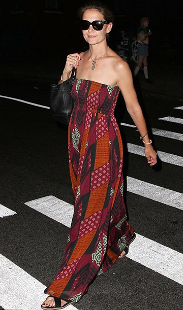 Katie Holmes wearing a Diane von Furstenberg Hannah Strapless Chiffon Maxi Dress out and about in New York City on July 12, 2015.