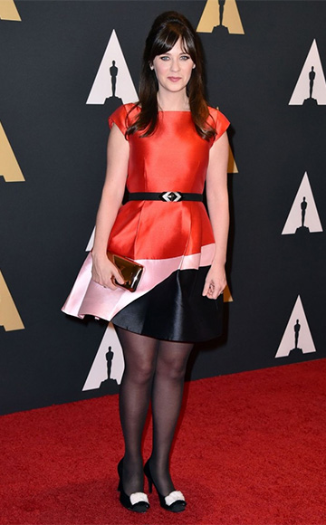 Kate Spade Colorblock Fit & Flare Dress as seen on Zooey Deschanel