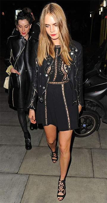 For Love & Lemons Penelope Mini Dress as seen on Cara Delevingne, December 2015
