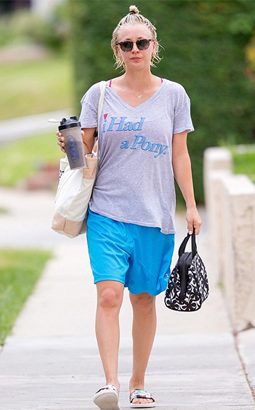 Kaley Cuoco wearing a Wildfox I Had A Pony Easy V-Neck Tee to the gym, July 2015