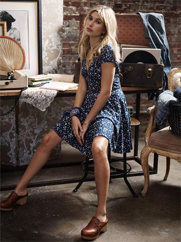 Ralph Lauren Denim & Supply Floral Fit-and-Flare Dress as seen on Hailey Baldwin