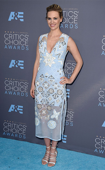 Altuzarra Pale Blue Embellished-Chiffon Eyelet Dress as seen on January Jones