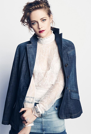 J Brand Lela Denim Mini Skirt as seen on Kristen Stewart