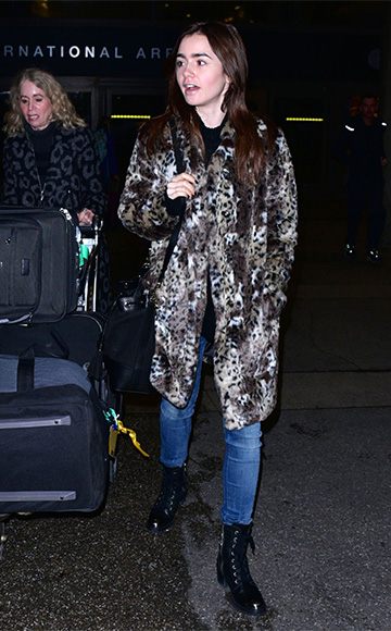 Rebecca Taylor Leopard Faux Fur Coat as seen on Lily Collins