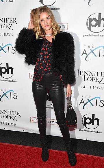 Saint Laurent cherry print silk blouse as seen on Rosie Huntington-Whiteley