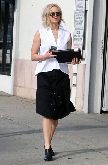 T By Alexander Wang Sleeve Waist Tie Poplin Skirt as seen on Jennifer Lawrence