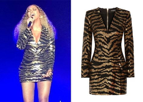 Balmain Sequined Tulle Mini Dress as seen on Beyonce