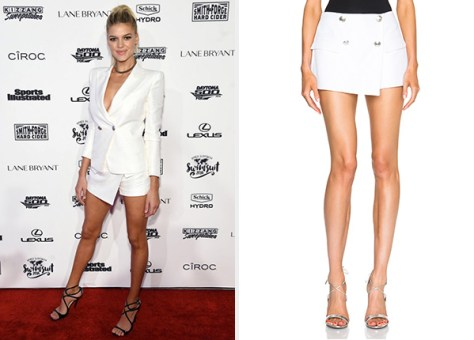 Pierre Balmain Button Wrap Mini Shorts as seen on Kelly Rohrbach