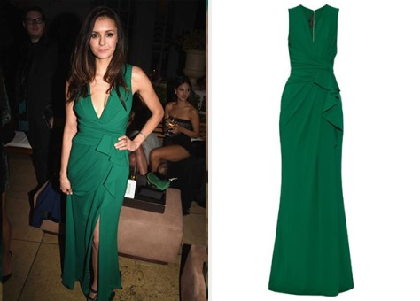 Elie Saab V-Neck Ruched Jersey Gown  as seen on Nina Dobrev