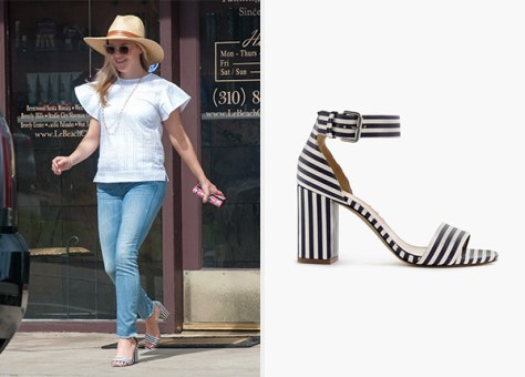 J.Crew Striped Strappy High-Heel Sandals as seen on Reese Witherspoon