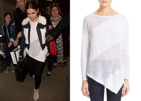 Alice + Olivia Quiana Asymmetrical Sheer Sweater as seen on Selena Gomez